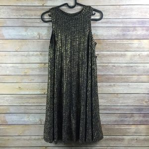 Want and Need Sparkly Gold Shift Dress (Bin: NW3)